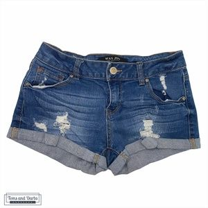 Wax Cuffed Jean Shorts with Distressing